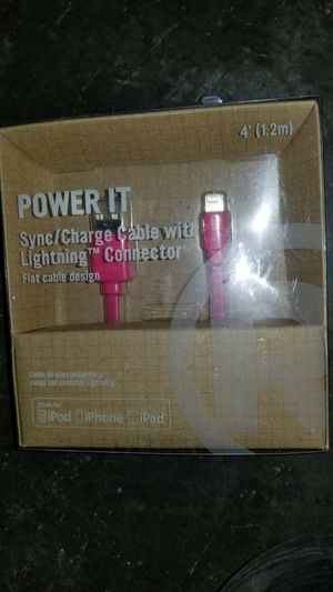 BNIB iPod iPhone iPad Charger Sync Flat Cable Pink 4 ft for Sale in Seattle, WA