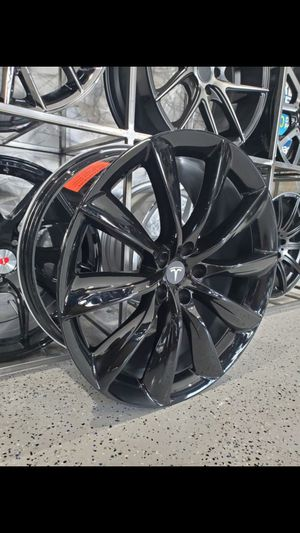 "22"" staggered gloss black turbine tesla style wheels fits model S and model x p100d rim tire wheel shop for Sale in Tempe, AZ"