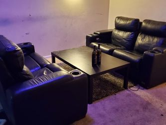 4 Leather Recliner Theater Couch w/coffee Table for Sale in Chicago,  IL