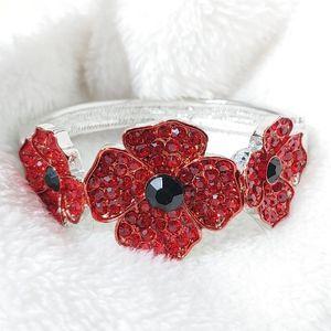 Sale Price Today!! 💝 Austrian Red & Black Crystal Poppy Flower Hinged Cuff Bracelet for Sale in Pompano Beach, FL