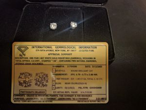 2.10cts Diamond earrings,white gold for Sale in Austin, TX