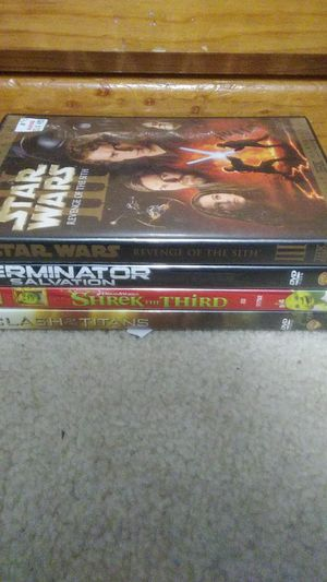 4 Movies for sale (Shrek 3, Terminator 4, Star Wars 3, Clash of the titans) for Sale in Duncanville, TX
