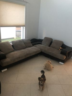 Modern leather grey black sectional for Sale in Boca Raton, FL