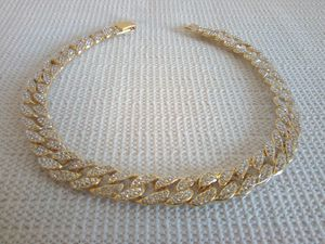 Mens Hip Hop Iced Out Bling Rhinestone Gold Color Fashion Miami Cuban Link Chain Necklace Jewelry 18 Inch for Sale in San Diego, CA