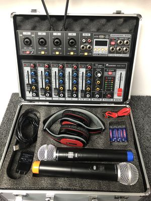 MIXER with Two wireless mics .Bluetooth,USB,Interface,Recorder.6a channels for Sale in Miami, FL