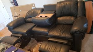 2 free black leather couches (if you take both and can haul)! for Sale in Denver, CO