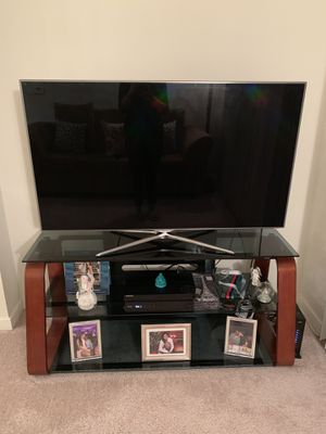 TV Stand-Beautiful Wood/Tinted Glass 3 Tier for Sale in Silver Spring, MD