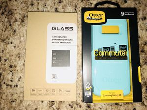 Samsung galaxy s8 otter box and temper glass for Sale in Lakeland, FL