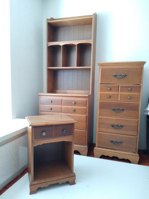 Vintage Wood Space Saving / Apartment Size Bedroom Set w/ Full Bed + Mattress for Sale in Tacoma, WA