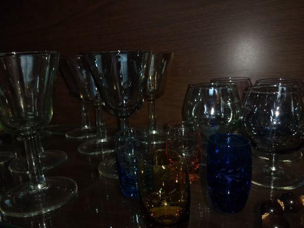 Colored glassware set antique