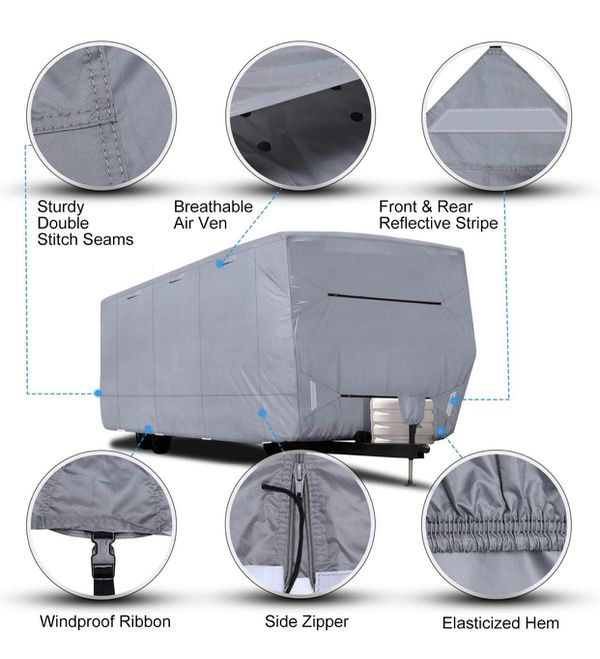"""RV Cover - RVMasking Upgraded 100% Waterproof Oxford Travel Trailer RV Cover, Fits 28'7"""" - 31'6"""" RVs"""