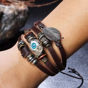 Unisex Multi Layer Leather 🧿Bracelet-Brown- Owl 🦉/ 🧿 for Sale in Dallas, TX