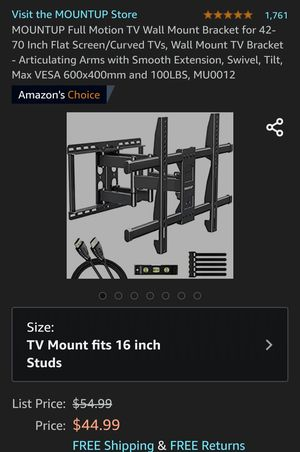 Unused/Packed TV Wall Mount brackets for $25 each for Sale in Arlington, VA