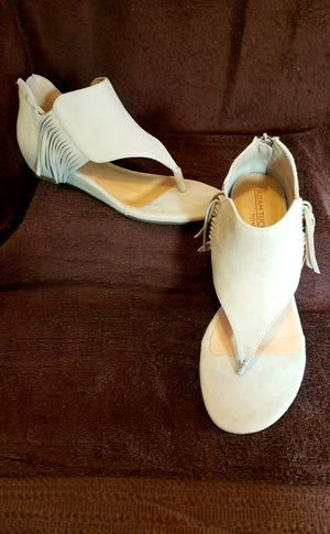 New Adam Tucker by Me Too Womens Adina Fringe Sandal Shoes, Beige 7M for Sale in HOFFMAN EST, IL