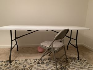 6' Folding Table Portable Plastic Indoor Outdoor Picnic Party Dining Camp Tables White (plus # 4 folding chair included) as you can see the picture for Sale in Lexington, KY