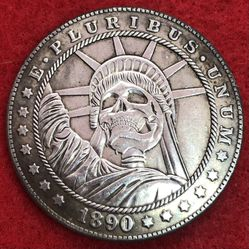 Statue Of Liberty Skull. Tibetan Silver Coin. First $20 Offer Automatically Accepted. Shipped Same Day for Sale in Portland,  OR