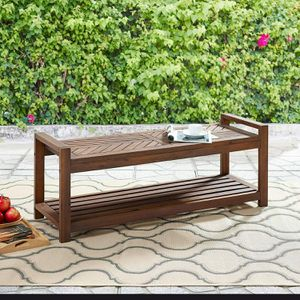 """48"""" Outdoor Patio Chevron All Weather Wood Dining Bench by Walker Edison for Sale in Naperville, IL"""