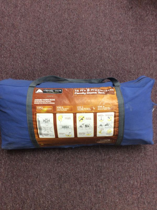 Ozark Trail 14f X 8f Family (8) Dome Tent. Fits 2 Queen Air Mattresses w/ 6f 2in Center Height