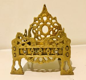 Old Antique India brass Hand Carved Hindu Idol Chair Singhasan Temple. for Sale in Gurnee, IL