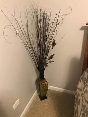 Decorative metal vase with twigs for Sale in Carol Stream, IL