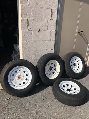 Tires for trailer good condition have 3 tire and rings #15 and 1 #14 price for ring end tires #14 is $90 for Sale in Adelphi, MD