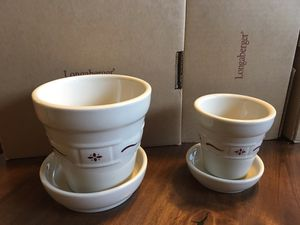 Longaberger traditional red flower pots w/trays (set of 2) for Sale in Washington, DC