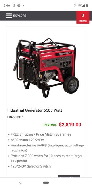HONDA GENERATOR EB6500X for Sale in Burien, WA