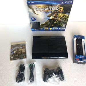 Like New Sony PlayStation 3 Super Slim 250GB UNCHARTED 3 Complete Bundle CECH 4001B w/ box & remote for Sale in Amherst, OH