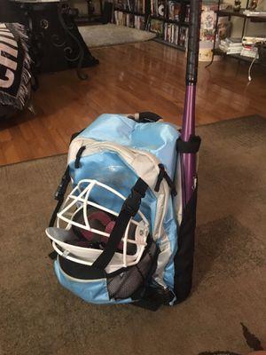 Softball equipment (bag, helmet, bat, batting gloves, Nike cleats size 9) for Sale in Joliet, IL