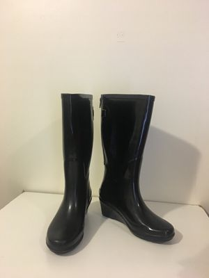 Wedge black rain boots size 6 runs big fits size 7 for Sale in Daly City, CA