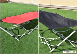 (FREE DELIVERY) Portable Folding Steel Frame Camping Hammock Sleeper with Bag in Red or Black for Sale in Las Vegas, NV