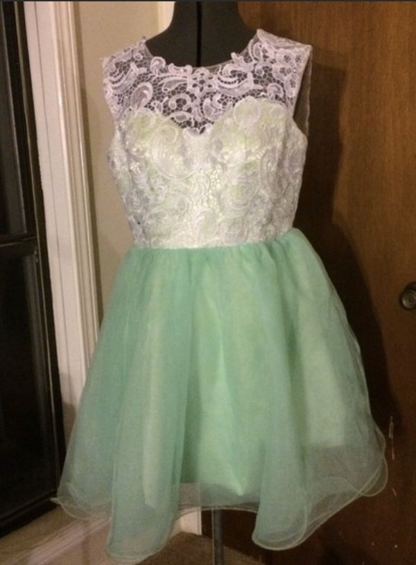 Beautiful mint green and white prom/party dress