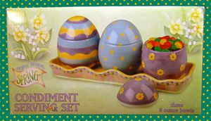 Debbie Mumm Spring Condiment Serving Set Porcelain Easter Eggs on Tray In Box for Sale in Mesa, AZ