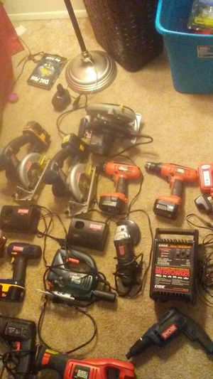 Lots of power tools RYOBI black and decker for Sale in Junction City, OR