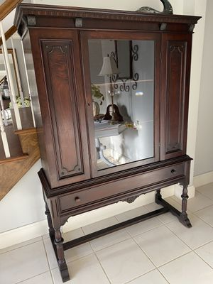 Antique all wood China cabinet-Mahogany- great for bar too for Sale in Naperville, IL