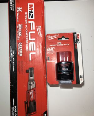 "Milwaukee M12 Fuel 1/2"" Ratchet and CP 2.0 Battery for Sale in Joint Base Lewis-McChord, WA"