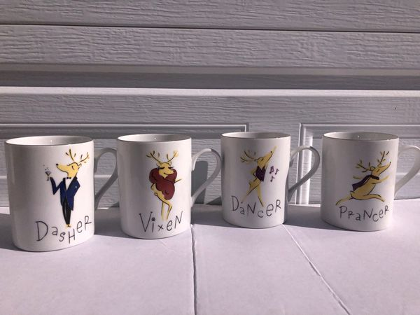 Four porcelain Christmas reindeer mugs from pottery barn