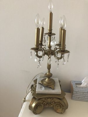 Matching Antique Gold and Crystal Side Table Lamps with Marble for Sale in Miami, FL