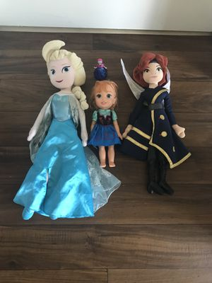 Queen Elsa, Princess Anna and flying fairy from tinker Bell the movie. for Sale in Boynton Beach, FL