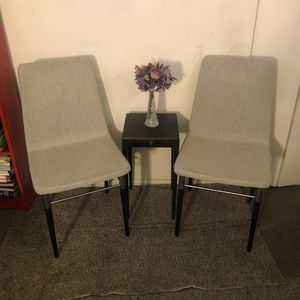 Four light gray and black / metallic mcm dining chairs for Sale in Alexandria, VA