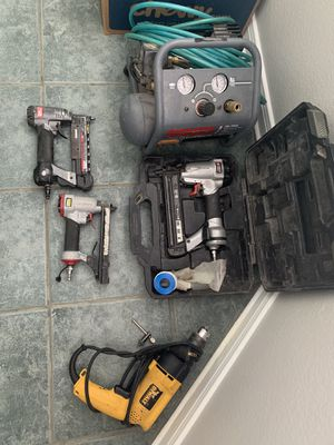 Air compressor, electric hammer drill, 2 nails guns and staple gun. for Sale in Addison, TX