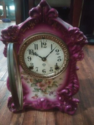 Wyoming purple antique Ansonia porcelain clock manufactured New York 1882 for Sale in Houston, TX