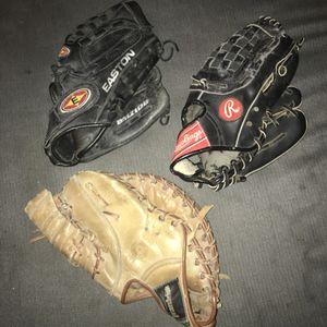 Lot of 3 children's child baseball gloves for Sale in Nashville, TN
