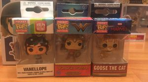 Funko Pop Keychains: Wonder Women, Vanellope, Toy Story Alien, Captain Marvel Goose the Cat, Disney Ariel and SpiderMan for Sale in Monterey Park, CA