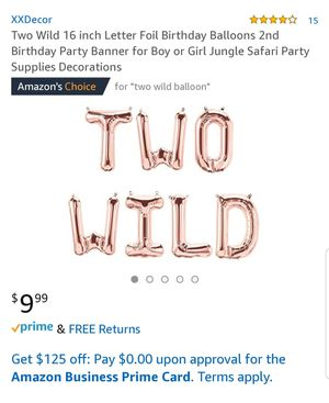 Two wild balloons party decor boy or girl birthday safari party for Sale in Wildomar, CA