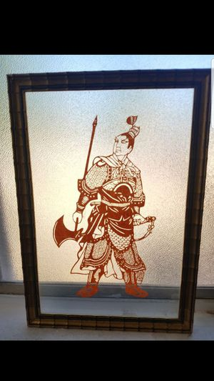 Set of 2 framed Chinese Dynasty warrior paper cut art Asian for Sale in Phoenix, AZ