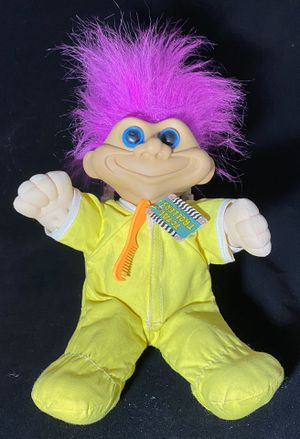 """Troll Doll 11"""" Total Trollers 1991 Street Kids Pink Fuchsia Hair Yellow Jumpsuit for Sale in Melrose Park, IL"""