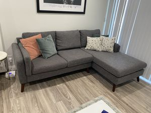 """AllModern Grey Sectional Couch 93"""" RETAILS 850 for Sale in Los Angeles, CA"""