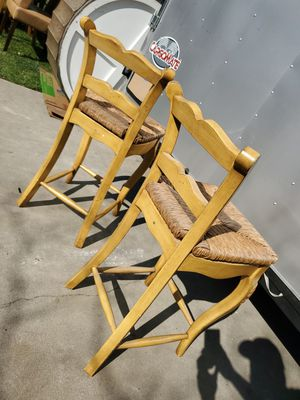 Pair of wooden hi chair w/ wicker seating for Sale in Fresno, CA