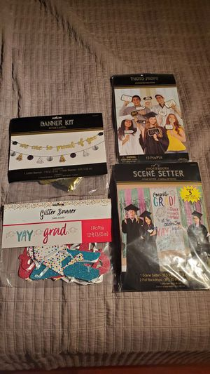 Graduation photo booth props banners kit for Sale in Miami, FL